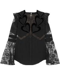 Elie Saab - Woman Embroidered Point D'esprit-paneled Velvet-trimmed Chiffon Blouse Black - Lyst