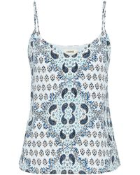L'Agence - Printed Silk Camisole Light Blue - Lyst