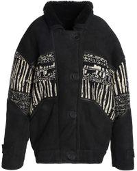 IRO - Woman Basil Tweed-paneled Shearling Coat Black - Lyst