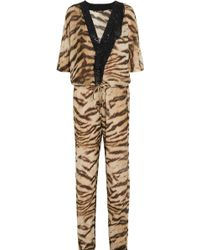 Roberto Cavalli - Embellished Printed Cotton And Silk-blend Jumpsuit - Lyst