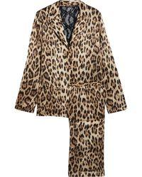 Roberto Cavalli - Lace-paneled Leopard-print Satin Pyjama Set - Lyst