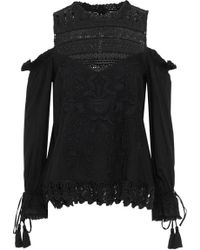 Love Sam - Shang Hai Cold-shoulder Crochet-paneled Embroidered Gauze Blouse - Lyst