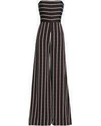 Safiyaa - Strapless Striped Satin-crepe Jumpsuit - Lyst