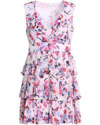 Claudie Pierlot - Corded Lace-paneled Crepe-satin Dress - Lyst