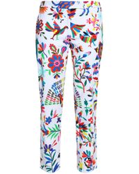 MILLY - Printed Cotton-blend Twill Tapered Trousers - Lyst