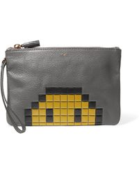 Anya Hindmarch - Pixel Smiley Textured-leather Pouch - Lyst