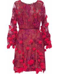 Marchesa notte - Velvet-trimmed Embellished Tulle Mini Dress - Lyst