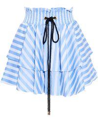 Caroline Constas - Ruffled Striped Cotton-poplin Mini Skirt Light Blue - Lyst