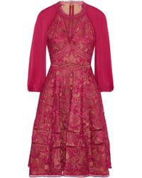 Notte by Marchesa - Cutout Chiffon-paneled Guipure Lace Dress - Lyst