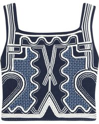 Peter Pilotto - Cropped Jacquard-knit Top - Lyst