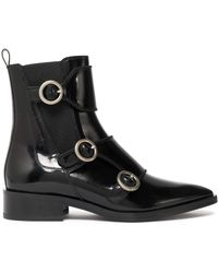 Lanvin - Buckled Glossed-leather Ankle Boots - Lyst