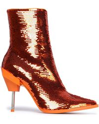 Emilio Pucci - Sequined Suede Ankle Boots Bright Orange - Lyst