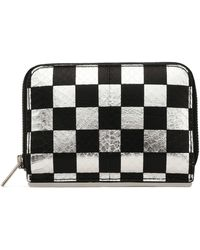Alexander Wang - Checked Metallic Snake-effect Leather Wallet - Lyst
