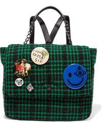 Vivienne Westwood Anglomania - Avon Embellished Leather-paneled Tinsel-trimmed Felt Backpack - Lyst