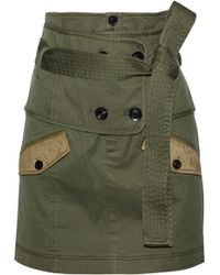Marissa Webb - Woman Aster Belted Cotton-blend Canvas Mini Skirt Army Green - Lyst