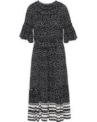 Love Sam - Woman Striped Floral-print Crepe De Chine Midi Dress Black - Lyst