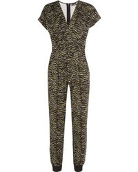 Just Cavalli - Wrap-effect Printed Stretch-knit Jumpsuit - Lyst