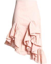 Marques'Almeida - Ruffled Asymmetric Crinkled-twill Skirt Pastel Pink - Lyst