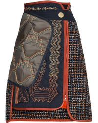 Peter Pilotto - Panelled Embroidered Tweed Skirt - Lyst