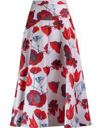 OSMAN | Izez Floral-print Twill Midi Skirt | Lyst