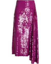Emilio Pucci - Draped Sequined Silk Midi Skirt - Lyst