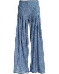 ViX - Pleated Cotton-chambray Wide-leg Trousers - Lyst