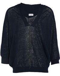Brunello Cucinelli - Bead-embellished Open-knit Linen-blend Hooded Top - Lyst