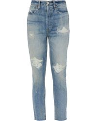 RE/DONE - Distressed High-rise Straight-leg Jeans - Lyst