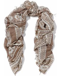 Chan Luu - Fringed Printed Cashmere And Silk-blend Gauze Scarf Light Brown - Lyst