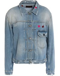 7 For All Mankind - Distressed Embroidered Denim Jacket - Lyst