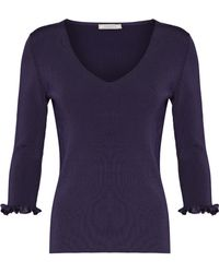 Nina Ricci - Ruffle-trimmed Cutout Ribbed-knit Sweater - Lyst