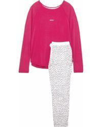 DKNY - Woman Printed Fleece And Stretch Modal-jersey Pajama Set Fuchsia -  Lyst 7a481c8ad