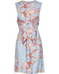 Lela Rose - Woman Tie-front Printed Twill Mini Dress Light Blue - Lyst