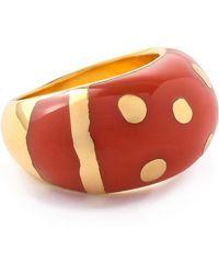 Aurelie Bidermann Aurélie Bidermann 18-karat Gold-plated Enamel Ring Papaya