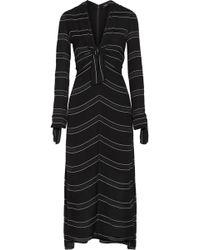 Proenza Schouler - Striped Crepe Midi Dress - Lyst
