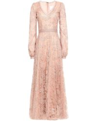 Costarellos Sequin-embellished Plissé Corded Lace Gown Blush