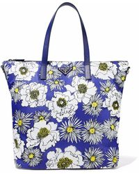 Prada - Textured Leather-trimmed Floral-print Shell Tote - Lyst