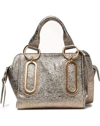See By Chloé - Paige Metallic Cracked-leather Shoulder Bag - Lyst