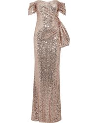 Badgley Mischka - Woman Off-the-shoulder Ruched Sequined Tulle Gown Rose Gold - Lyst