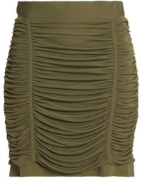 Balmain - Strapless Ruched Crepe Top Army Green - Lyst