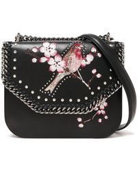 Stella McCartney - Woman Studded Embroidered Faux Leather Shoulder Bag Black - Lyst