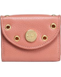 See By Chloé - Embellished Textured-leather Coin Purse Antique Rose - Lyst