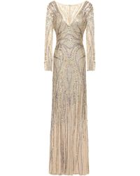 Jenny Packham Embellished Embroidered Tulle Gown Ecru