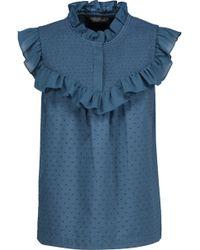 6e71a46e5bd14c Rachel Zoe - Woman Hera Ruffle-trimmed Swiss-dot Cotton-voile Blouse Cobalt