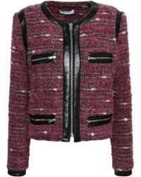 IRO - Woman Leather-trimmed Bouclé Jacket Plum - Lyst