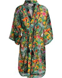 Matthew Williamson - Woman Lattice-trimmed Printed Silk Coverup Green - Lyst