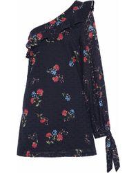 Nicholas - One-shoulder Floral-print Broderie Anglaise Cotton Mini Dress - Lyst