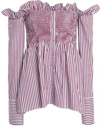 Victoria, Victoria Beckham - Off-the-shoulder Striped Cotton Top - Lyst