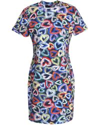 Love Moschino Woman Printed Satin-jersey Mini Dress White Size 48 Love Moschino 7JDh97QHR