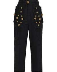 Dolce & Gabbana - Cropped Embellished Embroidered Wool-blend Straight-leg Pants - Lyst